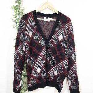 Topman plaid brush argyle cardigan sweater